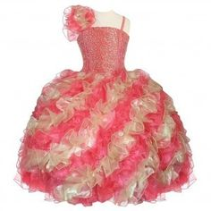33746aec5 Calla Collection Little Girls Coral Gold One Shoulder Ruffle Pageant Dress  2T-6 Discount Dresses