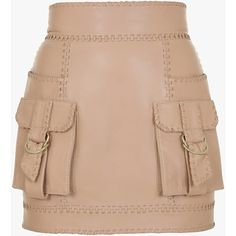 Balmain safari leather mini skirt ($2,920) ❤ liked on Polyvore featuring skirts, mini skirts, beige skirt, leather zipper skirt, zipper skirt, mini skirt and safari skirt