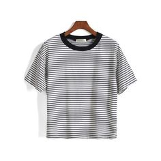 Short Sleeve Striped Loose White T-Shirt ($12) ❤ liked on Polyvore featuring tops, t-shirts, romwe, short sleeve tees, loose tops, striped tee, striped top and stripe t shirt