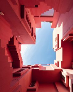 Sebastian Weiss photographs Ricardo Bofill's La Muralla Roja. Ricardo Bofill, Building Stairs, Internal Courtyard, Architectural Photographers, Stunning Photography, Minimal Photography, Red Walls, Beautiful Architecture, Spanish Architecture
