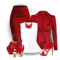 """""""Red Flare"""" by stileclassico ❤ liked on Polyvore featuring Marni, Rimen & Co., Alexa Starr, PENHALIGON'S, red, blazer and pencilskirt"""