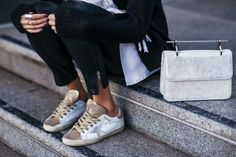 Golden Goose sneakers and M2Malletier bag Golden Goose dispo chez Big Boss Megève