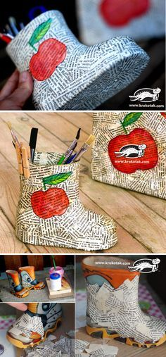 Child's Boot Pencil Holder Papier-Mâché