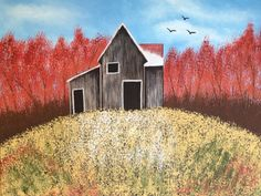 Autumn barn painting,16x20x.75.tree painting,fall painting,landscape painting,canvas art,bird painting