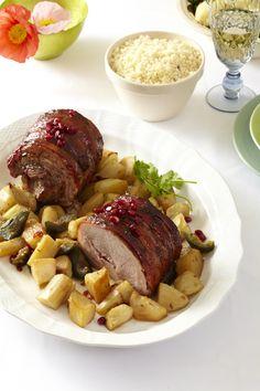 Pork roast with a pomegranate glaze