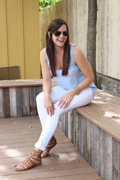 chambray tank with white jeans and cage sandals