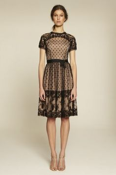 Collette Dinnigan French Border Lace Round Neck Sleeve Dress