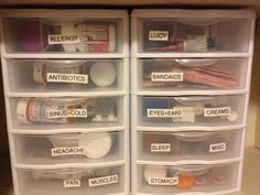 Organization of medications. Discard expired meds and buy some 5 drawer organizers. Label with a label maker or use a sharpee. Teen Bedroom Organization, Small Office Organization, Medicine Cabinet Organization, Container Organization, Diy Organization, Diy On A Budget, Drawer, Bath Ideas, Master Bath