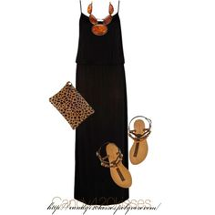 Maxi Dress and Leopard accent, created by candy420kisses on Polyvore