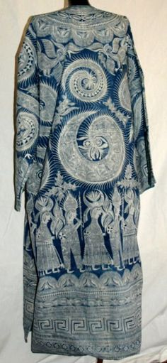 Man's Batik Coat  middle 20th century/China  Ceremony coat fron Yunnan in China, very novel design. looks like indigo.  The lining is light indigo color. The entire material is cotton. big size *120cm length