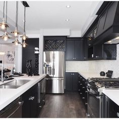 """Black and white kitchen by Tiffany MacKinnon"""