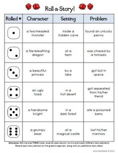 Roll-a-dice Literacy activities