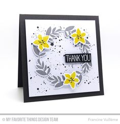 handmade thank you card from 1001 cartes: MFT  ... wreath in gray with yellow flowers ... square format ... sweet ...