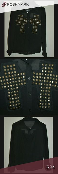 Black Sheer Cutout Studded Crosses Button Down Top Cutout on back / bronze metal studs / no size tag, best fits a Small Tops Button Down Shirts