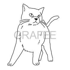 キリっとした猫のイラスト_サムネイル