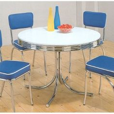Image detail for -Retro Kitchen Table and Chairs - Chrome Plated Round Dining Table