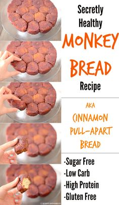 Healthy Low Carb Gluten Free Monkey Bread (sugar free, low carb, high protein, gluten free) - Desserts with Benefits #SkinnyFoxDetox [ SkinnyFoxDetox.com ]