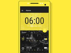 User interface by Alarm App, Material Design, User Interface, Alarm Clock, Day, Projection Alarm Clock, Alarm Clocks