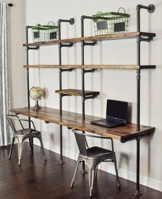 4 Tiers Industrial Laptop Desk,Solid Wood & Iron Pipe Computer Desk,Wall Pipe Desk with Shelves,Computer Table for Home Office - Interior - Indusrtial Design Decor, Home Diy, Furniture, Shelves, Interior, Shelving, Home Decor, Desk Shelves, Remodel Bedroom