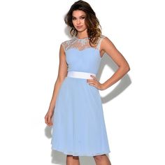Lace Embellished Pastel Blue Skater Dress ($34) ❤ liked on Polyvore featuring dresses, blue, skater skirt, blue lace dress, circle skirts, blue skater skirt and pastel blue dresses