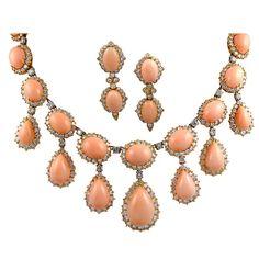 VAN CLEEF & ARPELS Angel Skin Coral Diamond Necklace and Earrings, circa 1970