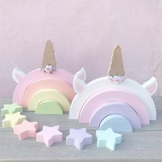 Items similar to Unicorn rainbow unicorn decor unicorn decoration unicorn wooden rainbow rainbow pastel rainbow unicorn lover unicorn party decor on Etsy Unicorn Rooms, Unicorn Bedroom, Unicorn Decor, Ciel Pastel, Pastel Nursery, Wooden Rainbow, Nursery Shelves, Stacking Toys, Star Decorations
