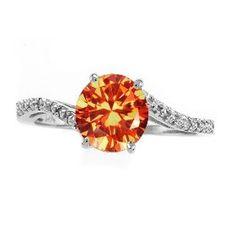 unique alternative wedding rings7 Round orange sapphire wedding rings Los Angeles
