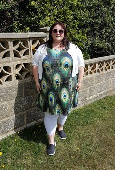 CowCow peacock print plus size skater dress   I've loved peacocks and peacock feathers for many years. My mum used to have some peacock feathers in a tankard over our fireplace when I was a child and that started a fascination all of my own. When I saw this CowCow peacock print dress it was a no-brainer to buy it.If you've not heard about CowCow yet they're a Hong Kong based company who make affordable clothing in a huge range of fun patterns. The dresses I have are made of a really stretchy…