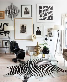 Black and white vintage room, zebra, pantone chair, art