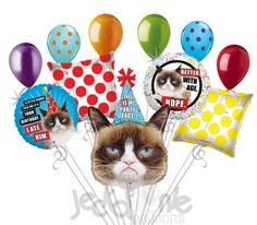 """Included in this bouquet: 11 Balloons Total 1 – 36"""" """"This is My Party Face"""" Grumpy Cat Shape Balloon 1 – 18"""" """"A Little Birdie Told Me It's Your Birthday. I Ate Him."""" Grumpy Cat Round Balloon 1 – 18"""" """""""