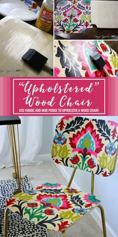 This is AMAZING! You can totally customize a wood chair with fabric and mod podge. It's so easy and is so much less expensive than buying an upholstered chair with the fabric you love. Full tutorial!