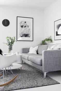 70 Stunning Grey White Black Living Room Decor Ideas And Remodel 9 – Home Design Living Room White, White Rooms, Living Room Sofa, Home Living Room, Living Room Designs, Living Room Decor, Small Living, Modern Living, Ikea Living Room Furniture