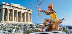 The painted replica of a c. 490 B.C. archer (at the Parthenon in Athens) testifies to German archaeologist Vinzenz Brinkmann's painstaking research into the ancient sculpture's colors. The original statue came from the Temple of Aphaia on the Greek island of Aegina
