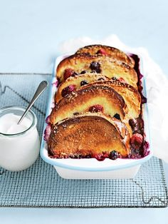 blueberry and raspberry bread and butter pudding