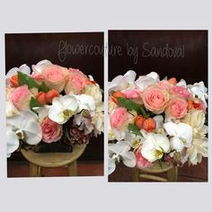 Fall centerpiece with soft orange and pink flowers with white orchids. #wedoweddings #flowercouture4you