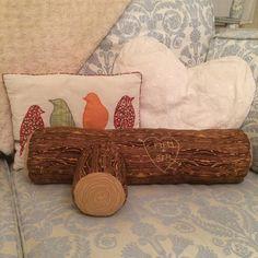 Bea'spoke log cushion. Personalised with by BeaspokeEtsy on Etsy