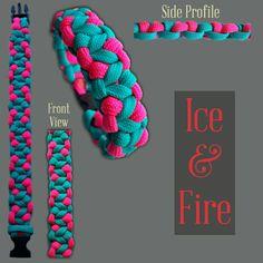 Ice & Fire Paracord Bracelet Designs, Paracord Ideas, Paracord Projects, Paracord Bracelets, Make Your Own Bracelet, Keychains, Friendship Bracelets, Macrame, Knots