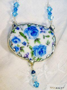 [broken china soldered pendants | Broken China Jewelry, China Pendant Necklace, Blue Chintz, Sterling ...