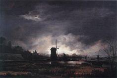 Aert van der Neer - Moonlit Landscape with a Windmill