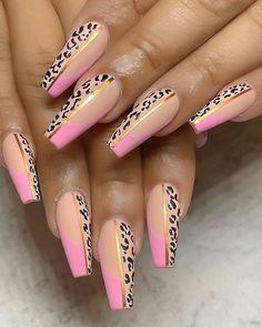 Pink Cheetah Nails, Leopard Print Nails, Cheetah Nail Designs, Bandana Nails, Work Nails, Diamond Nails, Nagel Gel, Best Acrylic Nails, Pretty Nails