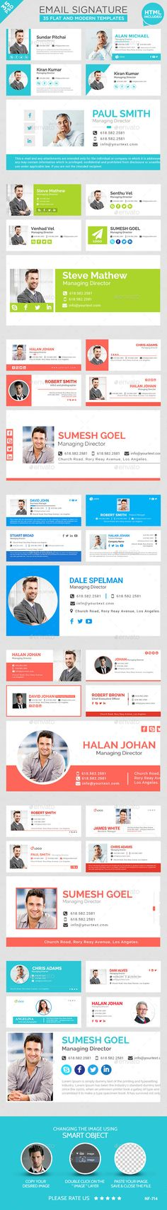 Email Signature - 35 Templates by doto Email Signature Templates PSD and HTML Files included Clean & Professional Design Multipurpose Use Completely editable Easily