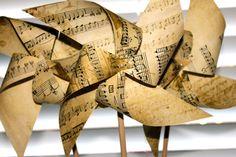 Wedding favors Sheet Music Pinwheels