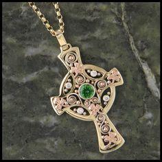 Custom Celtic Cross Pendant in 14K Yellow, Rose and White Gold with Tsavorite