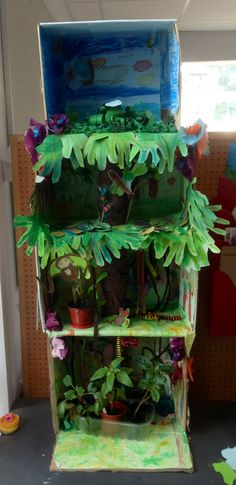 Layers of the rainforest in boxes. .include some real plants in pots and and toy animals.