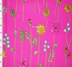 1YD MONACO Tropical Flowers & Stems DF35 Pink Dena Designs Free Spirit Fabric #FreeSpirit