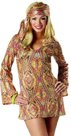 Go Sexy Adult Costumes 70s Outfit Disco Dress Costume 10-12