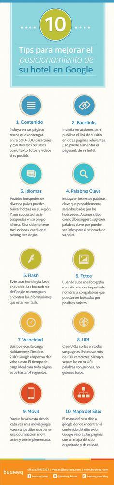 Hola: Una infografía con 10 consejos para mejorar el posicionamiento de tu hotel. Vía Un saludo