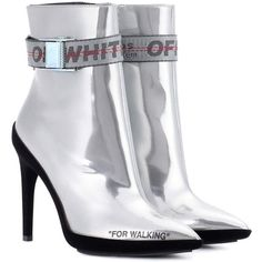 Off-White Leather Ankle Boots (€1.030) ❤ liked on Polyvore featuring shoes, boots, ankle booties, silver, leather ankle bootie, leather boots, leather ankle boots, genuine leather boots and leather booties