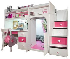 Elena's White Twin Size Secret Stairway Loft Bed from Totally Kids fun furniture &
