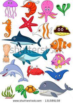 Illustration of Sea life cartoon collection vector art, clipart and stock vectors. Cartoon Cartoon, Cartoon Sea Animals, Art Drawings For Kids, Drawing For Kids, Easy Drawings, Art Wall Kids, Art For Kids, Wall Art, Ocean Themes